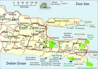 Kaart van spoorverbindingen op Oost Java. Klik op de kaart voor vergroting.