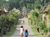 Straat in een dorp op Bali. Elke poort geeft toegang tot een family-compound.